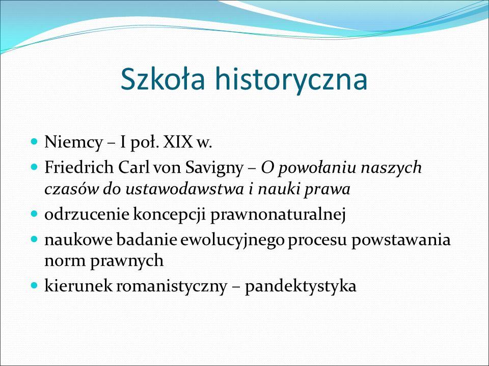 Szkoła historyczna Niemcy – I poł. XIX w.