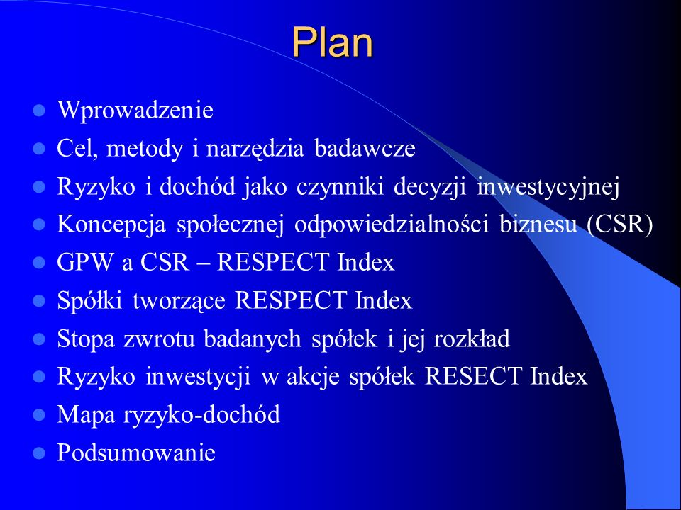 Plan Wprowadzenie Cel, metody i narzędzia badawcze