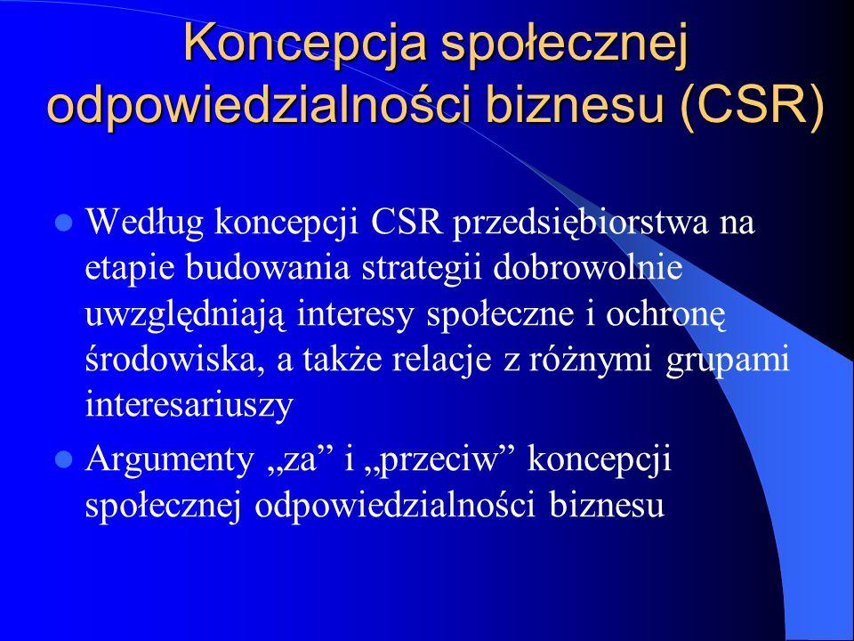 Koncepcja społecznej odpowiedzialności biznesu (CSR)