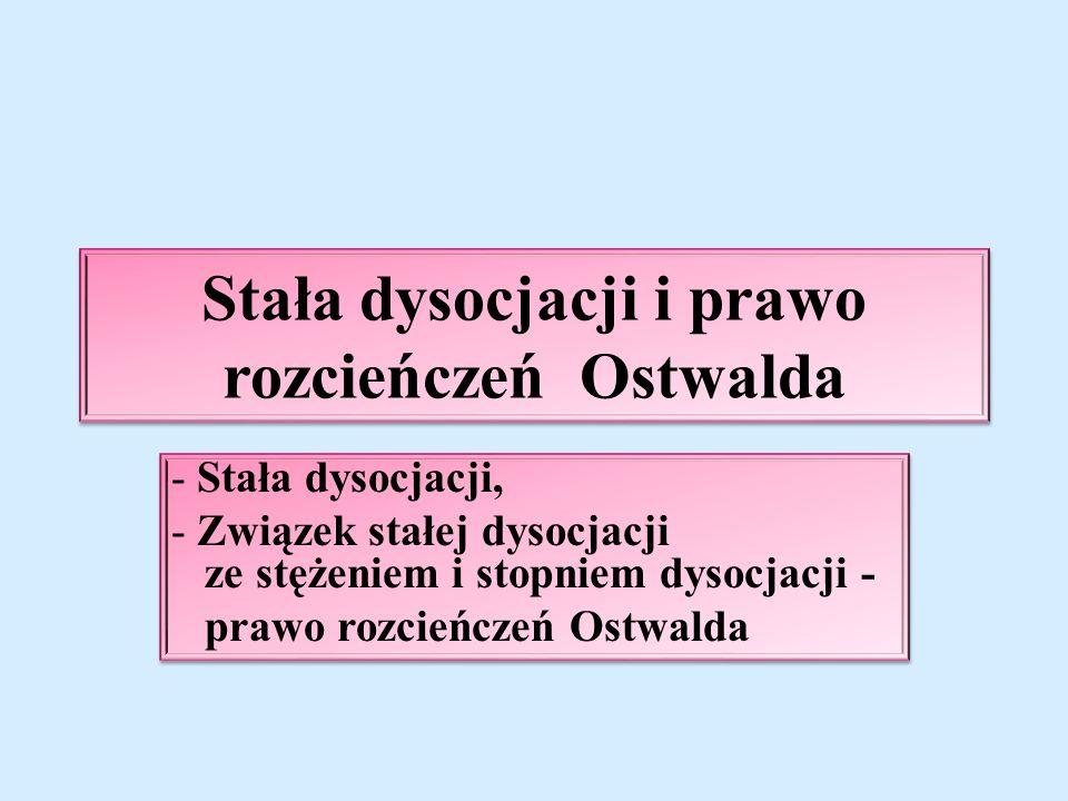 Stała dysocjacji i prawo rozcieńczeń Ostwalda