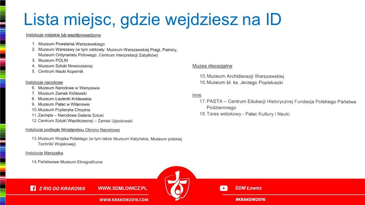 Lista miejsc, gdzie wejdziesz na ID