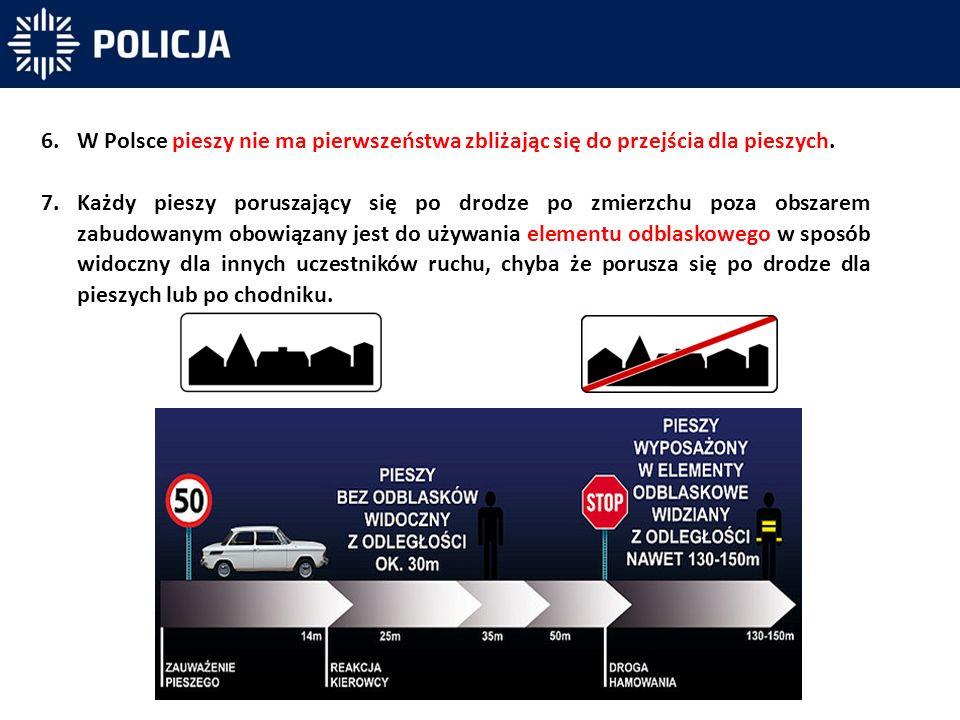 W Polsce pieszy nie ma pierwszeństwa zbliżając się do przejścia dla pieszych.