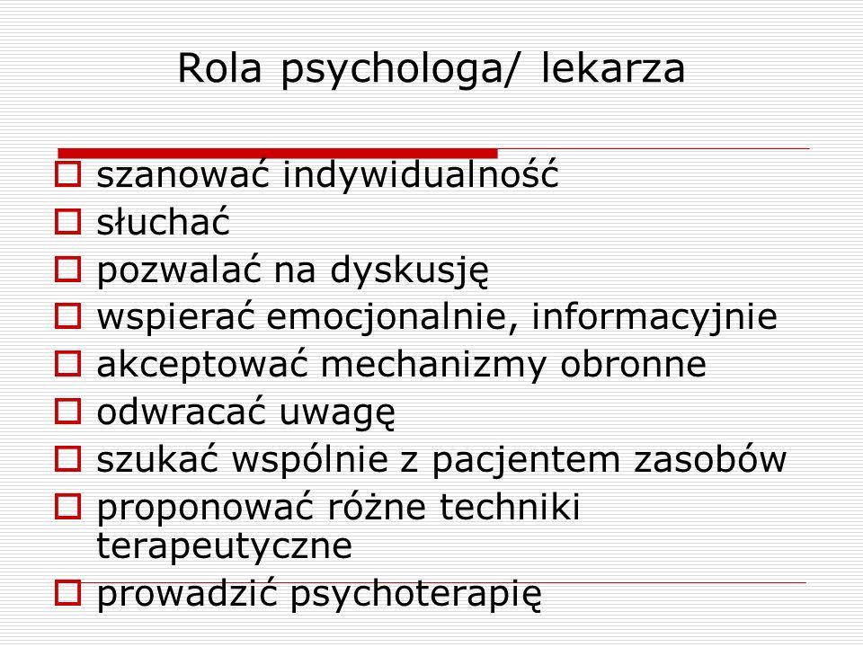 Rola psychologa/ lekarza