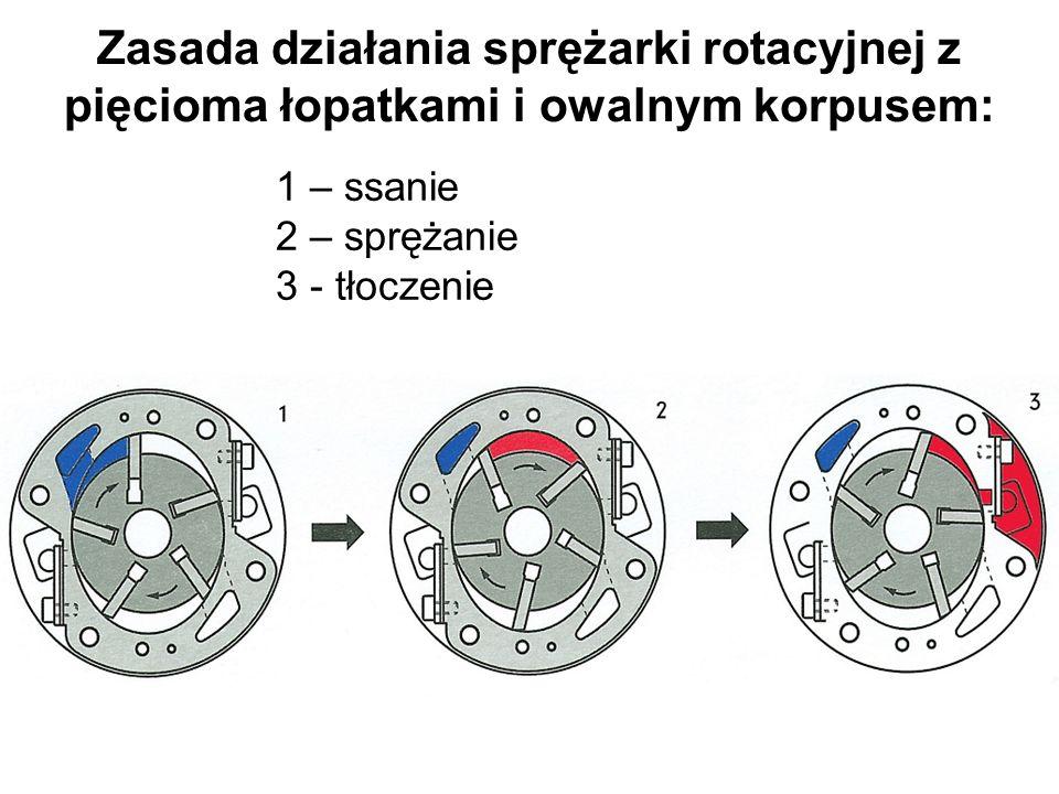 Zasada działania sprężarki rotacyjnej z pięcioma łopatkami i owalnym korpusem: