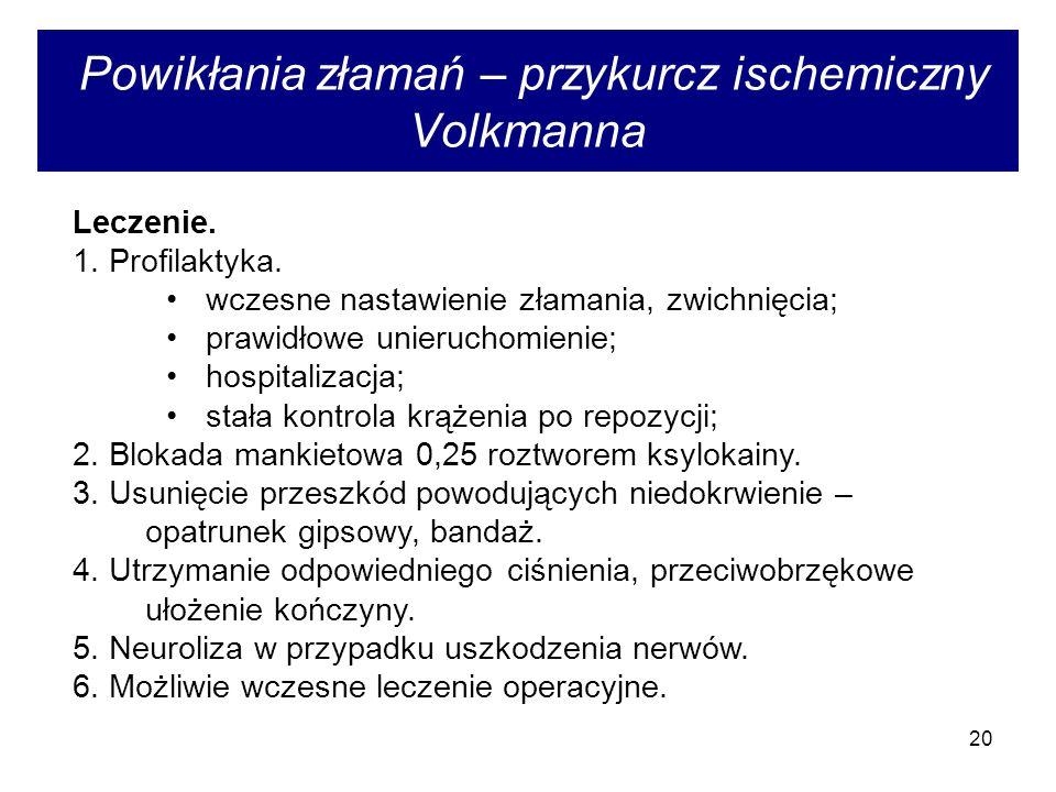 Powikłania złamań – przykurcz ischemiczny Volkmanna
