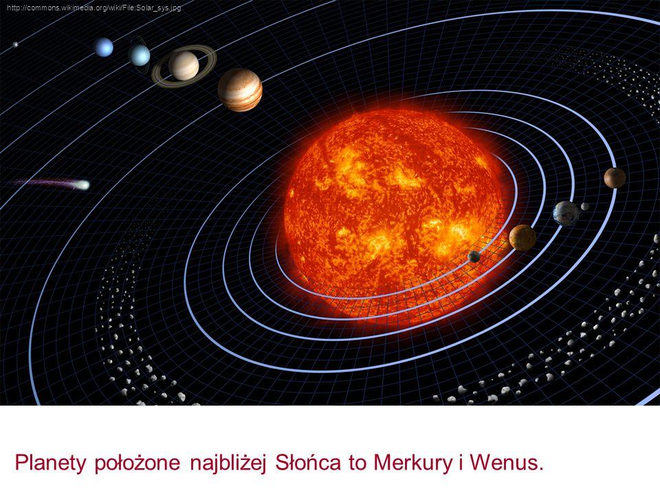 Planety położone najbliżej Słońca to Merkury i Wenus.