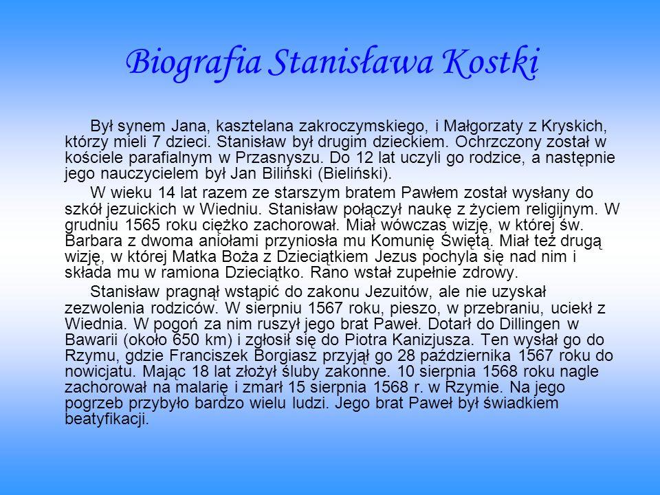 Biografia Stanisława Kostki