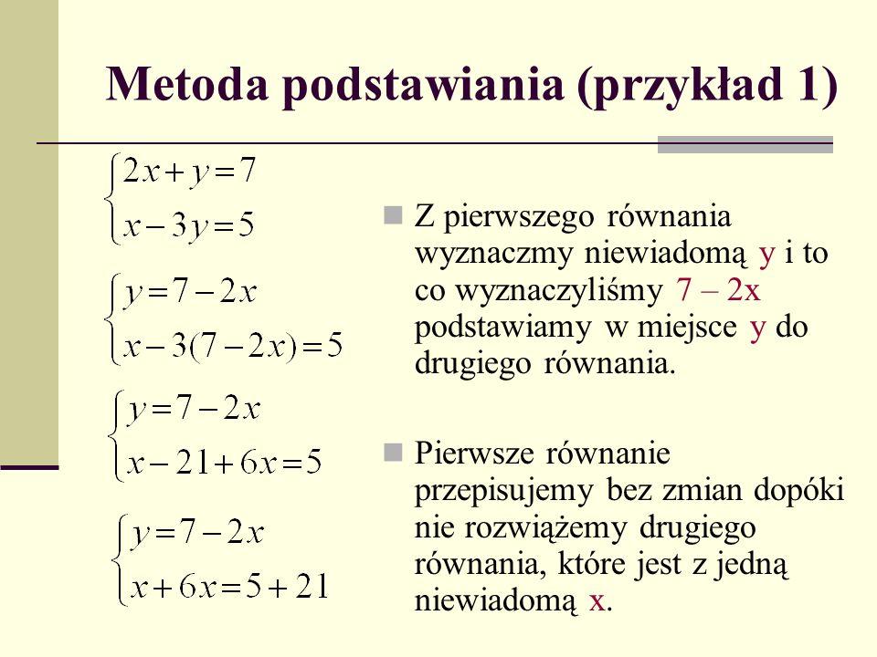 Metoda podstawiania (przykład 1)