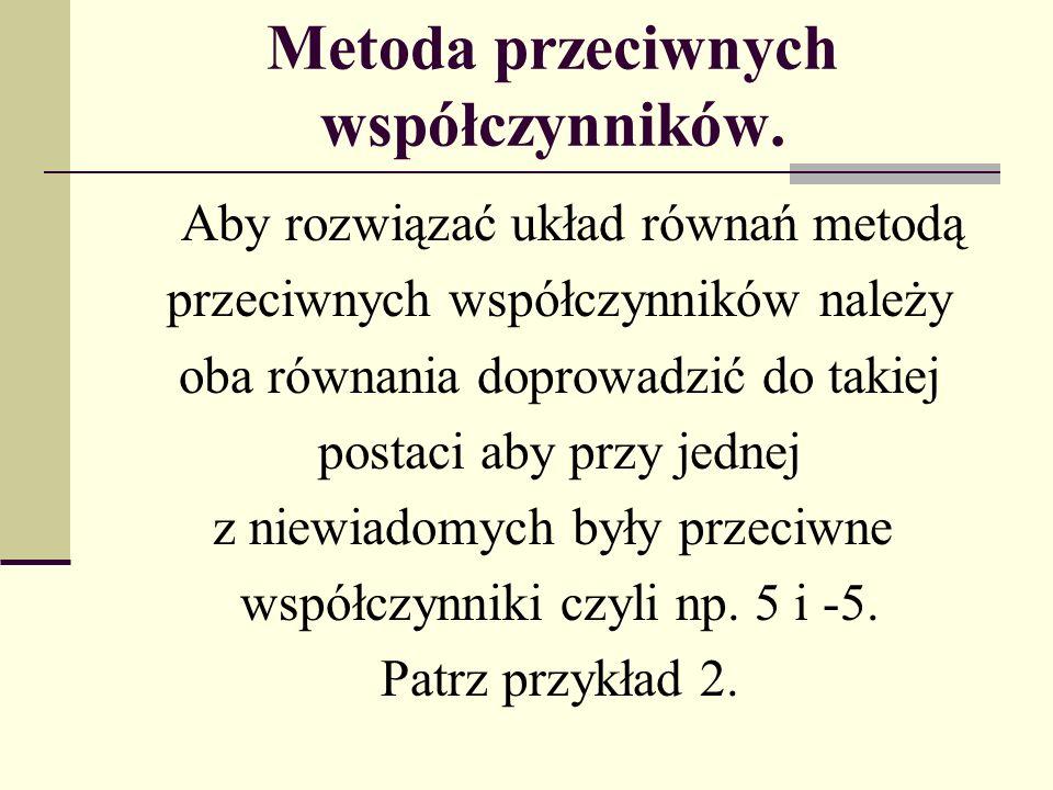 Metoda przeciwnych współczynników.