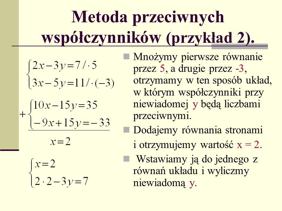 Metoda przeciwnych współczynników (przykład 2).