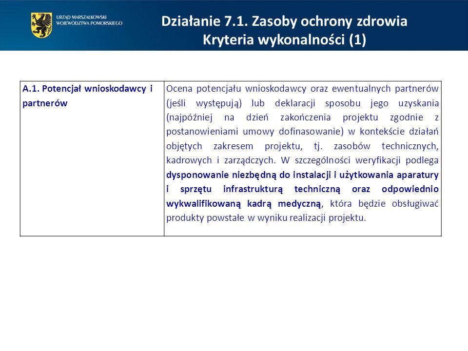 Działanie 7.1. Zasoby ochrony zdrowia Kryteria wykonalności (1)