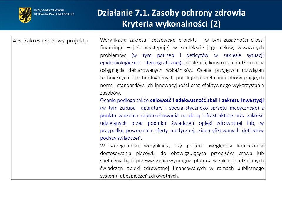 Działanie 7.1. Zasoby ochrony zdrowia Kryteria wykonalności (2)