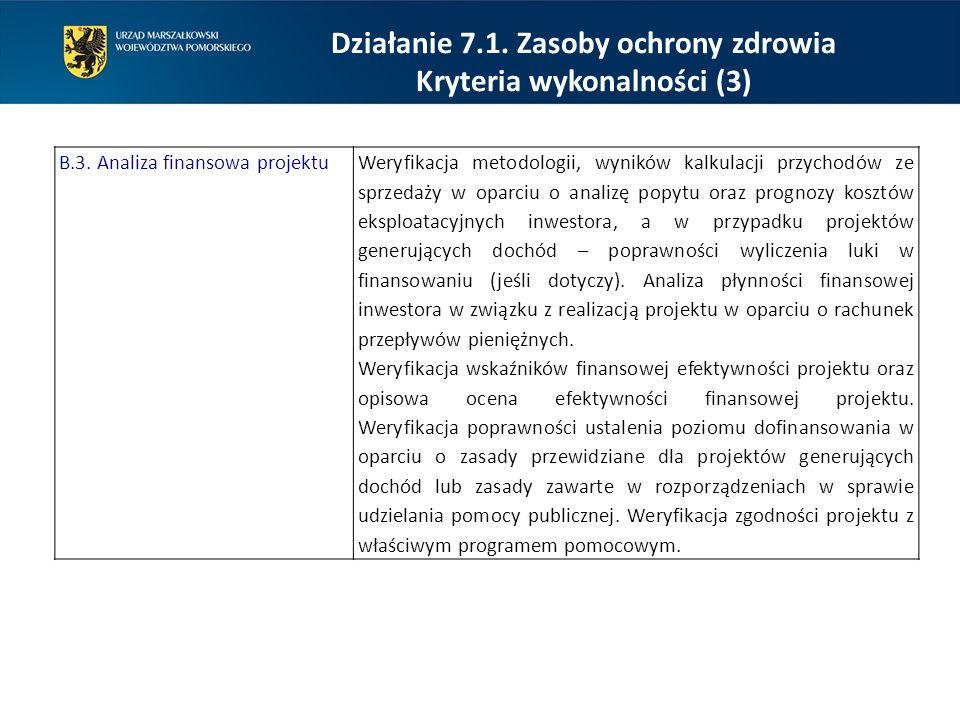 Działanie 7.1. Zasoby ochrony zdrowia Kryteria wykonalności (3)