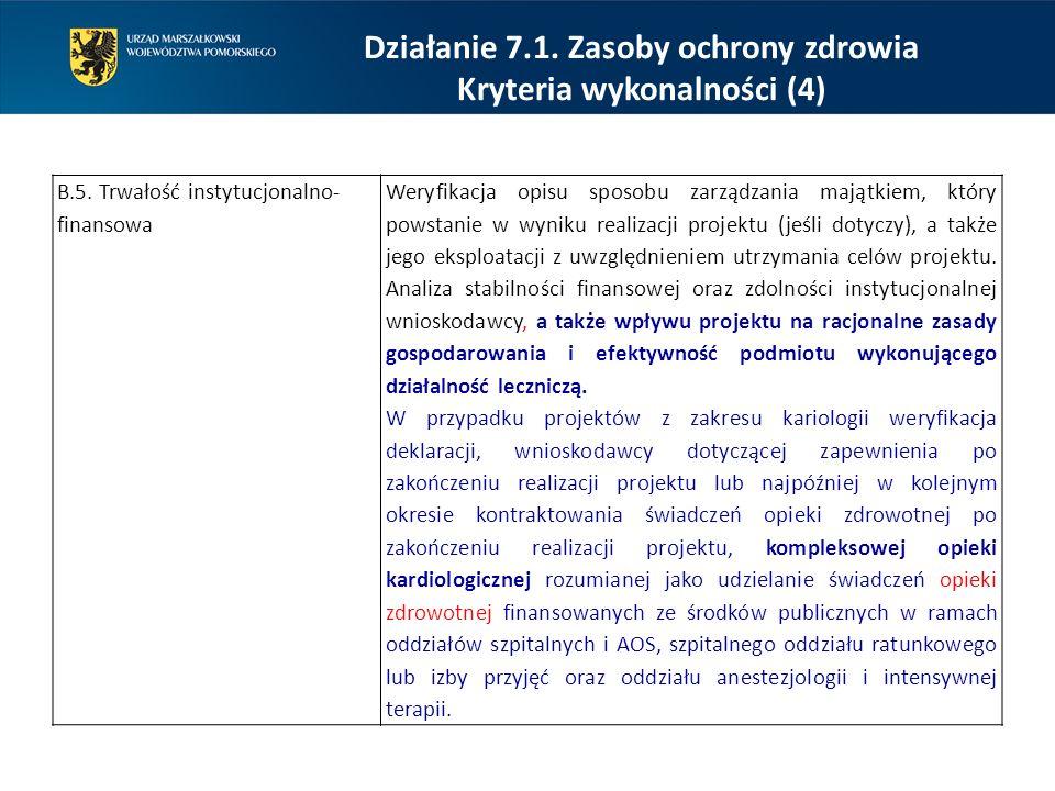 Działanie 7.1. Zasoby ochrony zdrowia Kryteria wykonalności (4)