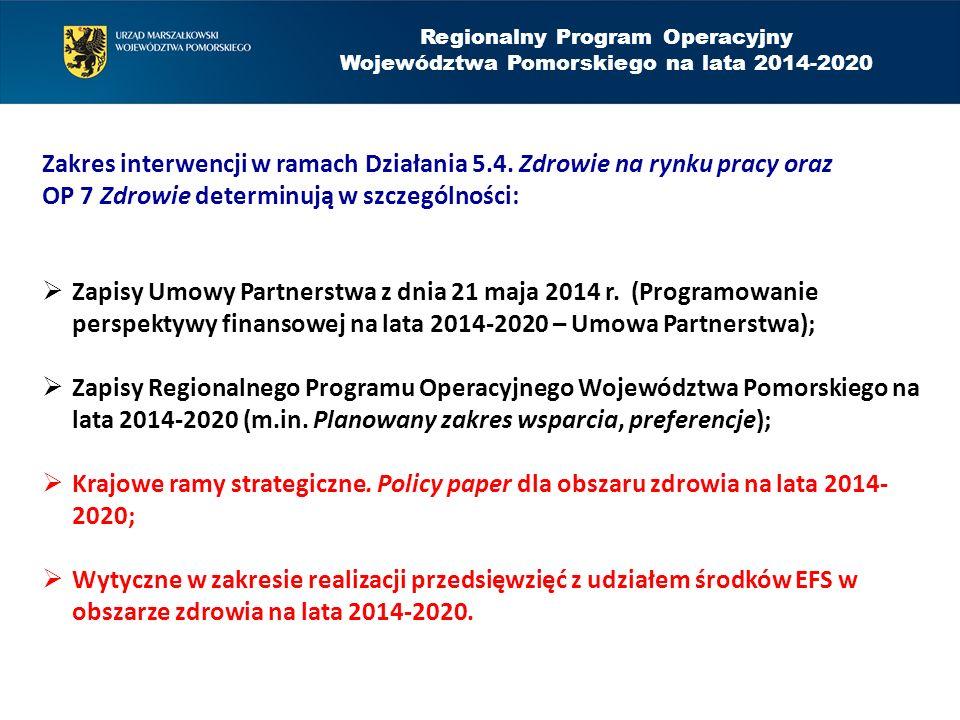 Zakres interwencji w ramach Działania 5.4. Zdrowie na rynku pracy oraz