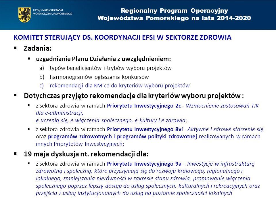 Komitet Sterujący ds. koordynacji EFSI w sektorze zdrowia Zadania: