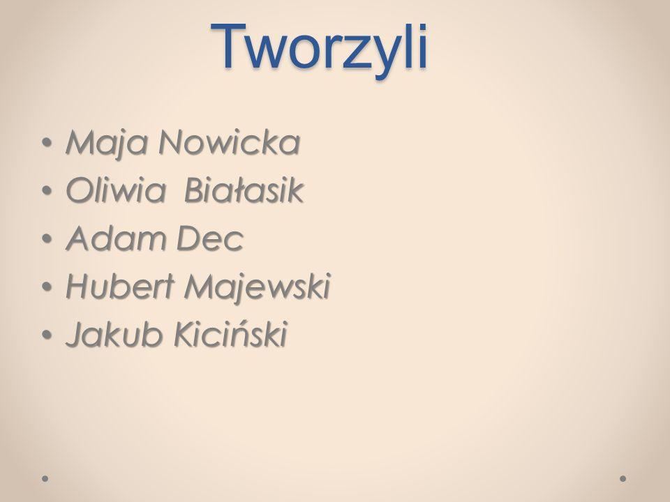 Tworzyli Maja Nowicka Oliwia Białasik Adam Dec Hubert Majewski