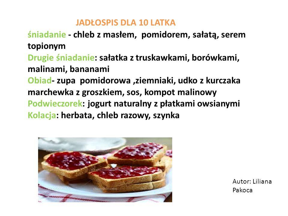 JADŁOSPIS DLA 10 LATKA śniadanie - chleb z masłem, pomidorem, sałatą, serem topionym.