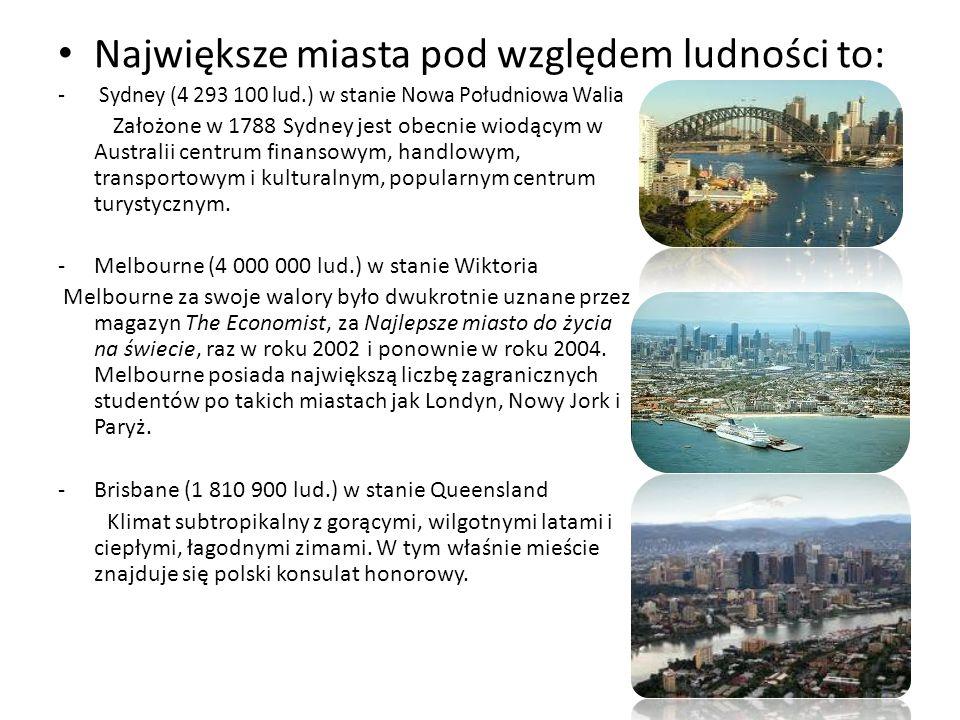 Największe miasta pod względem ludności to: