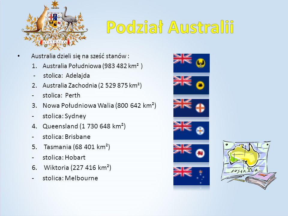 Podział Australii Nowa Południowa Walia (800 642 km²) stolica: Sydney