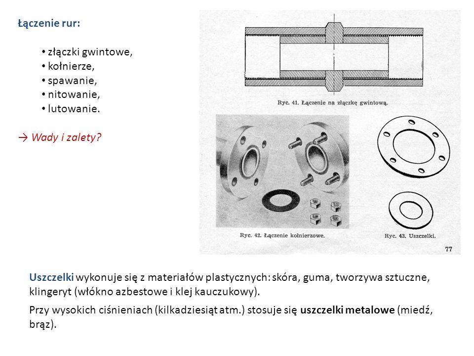 Łączenie rur: złączki gwintowe, kołnierze, spawanie, nitowanie, lutowanie. → Wady i zalety