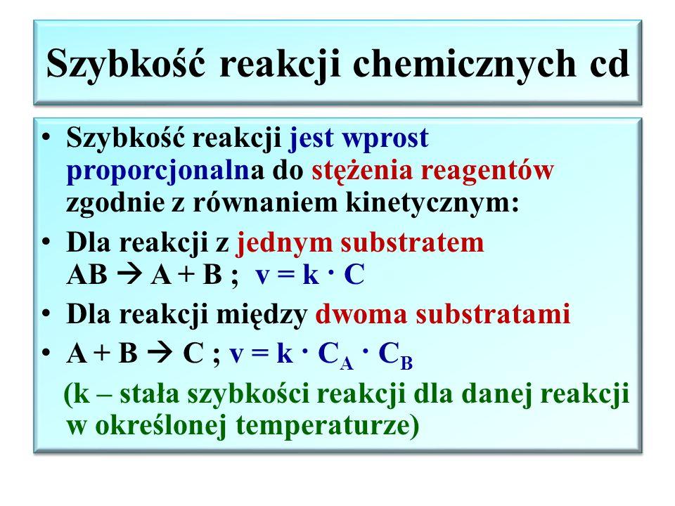 Szybkość reakcji chemicznych cd