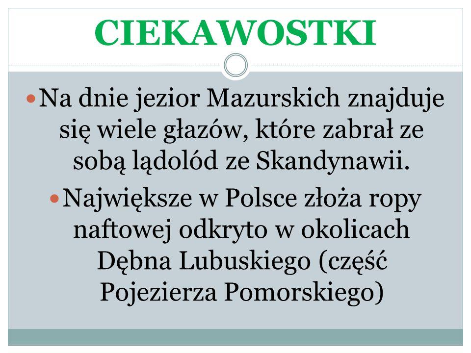 CIEKAWOSTKI Na dnie jezior Mazurskich znajduje się wiele głazów, które zabrał ze sobą lądolód ze Skandynawii.