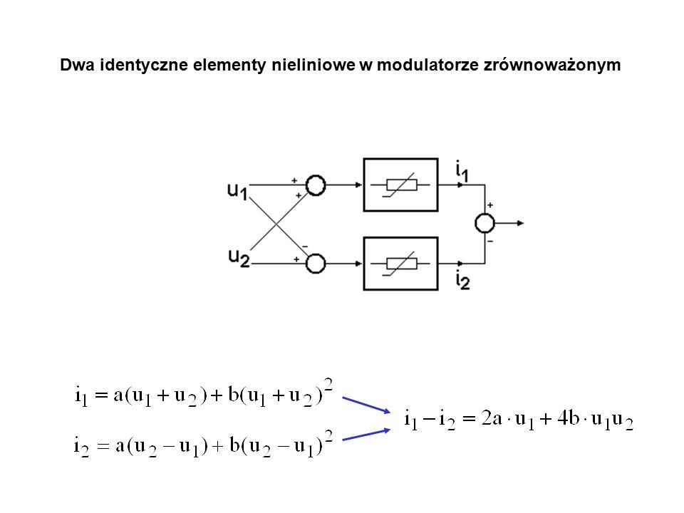 Dwa identyczne elementy nieliniowe w modulatorze zrównoważonym