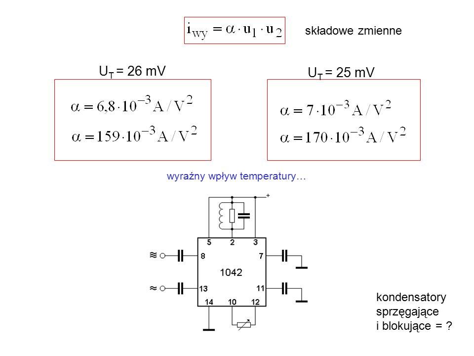 UT = 26 mV UT = 25 mV składowe zmienne kondensatory sprzęgające