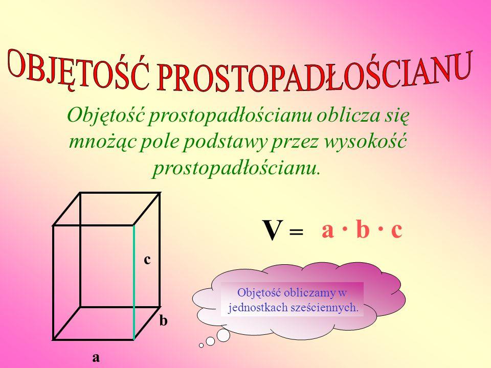 V = a · b · c OBJĘTOŚĆ PROSTOPADŁOŚCIANU