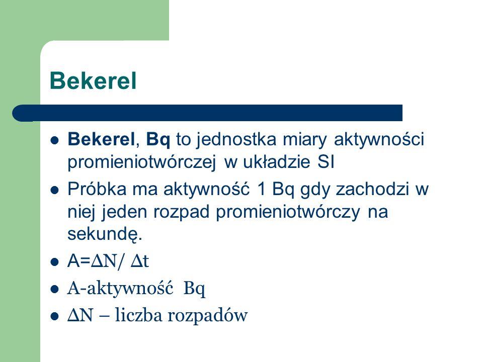 Bekerel Bekerel, Bq to jednostka miary aktywności promieniotwórczej w układzie SI.