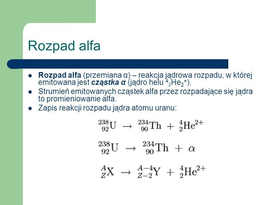 Rozpad alfa Rozpad alfa (przemiana α) – reakcja jądrowa rozpadu, w której emitowana jest cząstka α (jądro helu 42He2+).