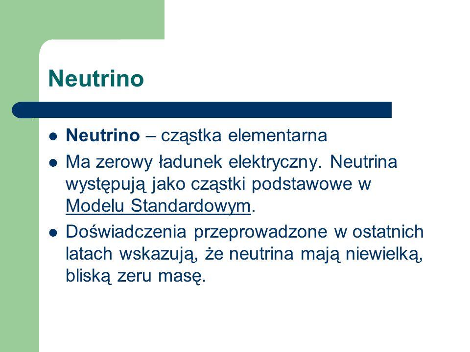 Neutrino Neutrino – cząstka elementarna