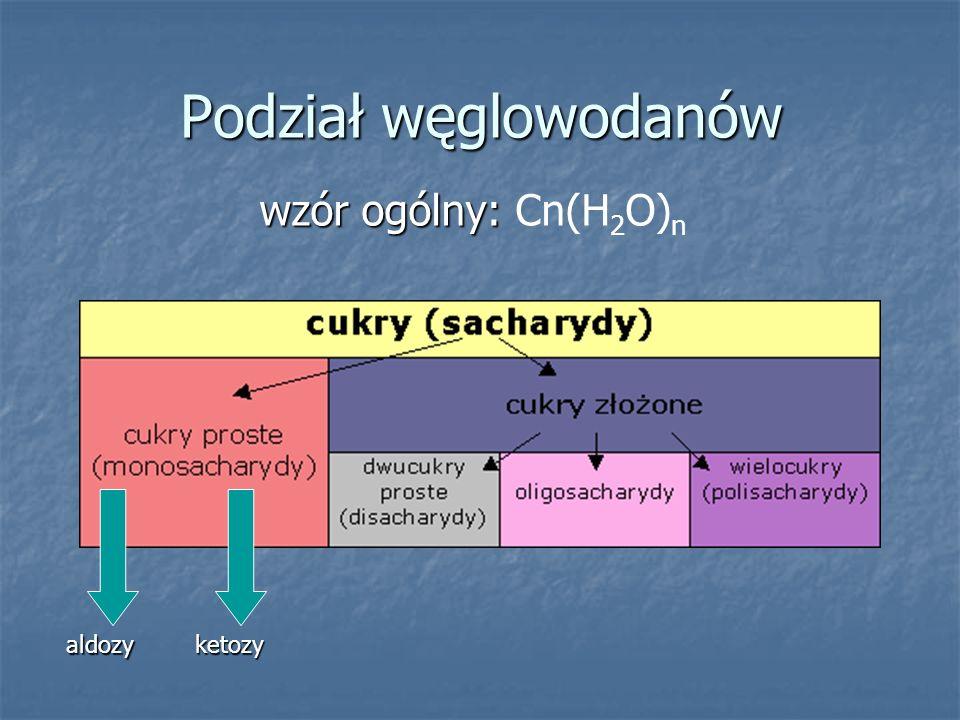 Podział węglowodanów wzór ogólny: Cn(H2O)n aldozy ketozy