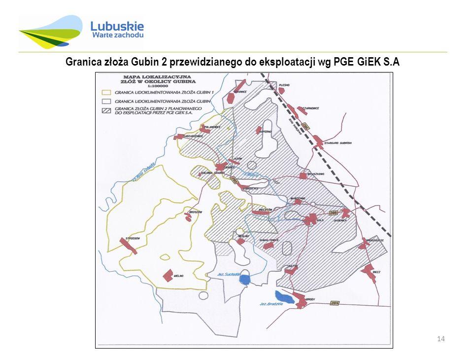 Granica złoża Gubin 2 przewidzianego do eksploatacji wg PGE GiEK S.A