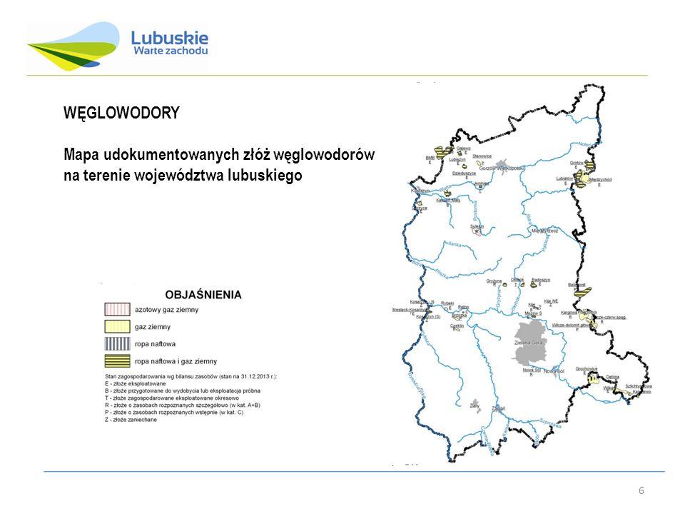 WĘGLOWODORY Mapa udokumentowanych złóż węglowodorów na terenie województwa lubuskiego