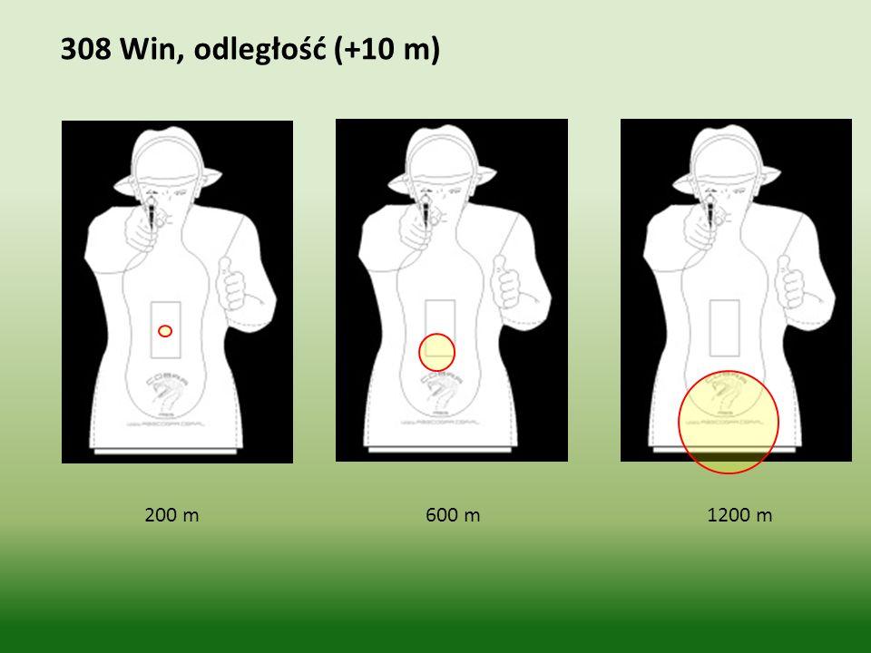 308 Win, odległość (+10 m) 200 m 600 m 1200 m