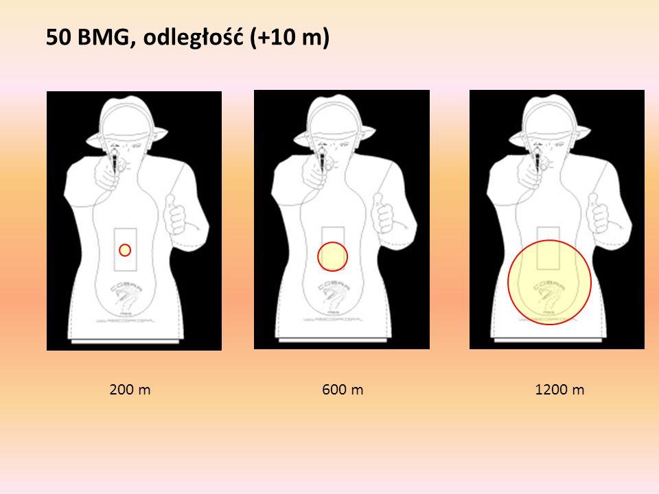50 BMG, odległość (+10 m) 200 m 600 m 1200 m