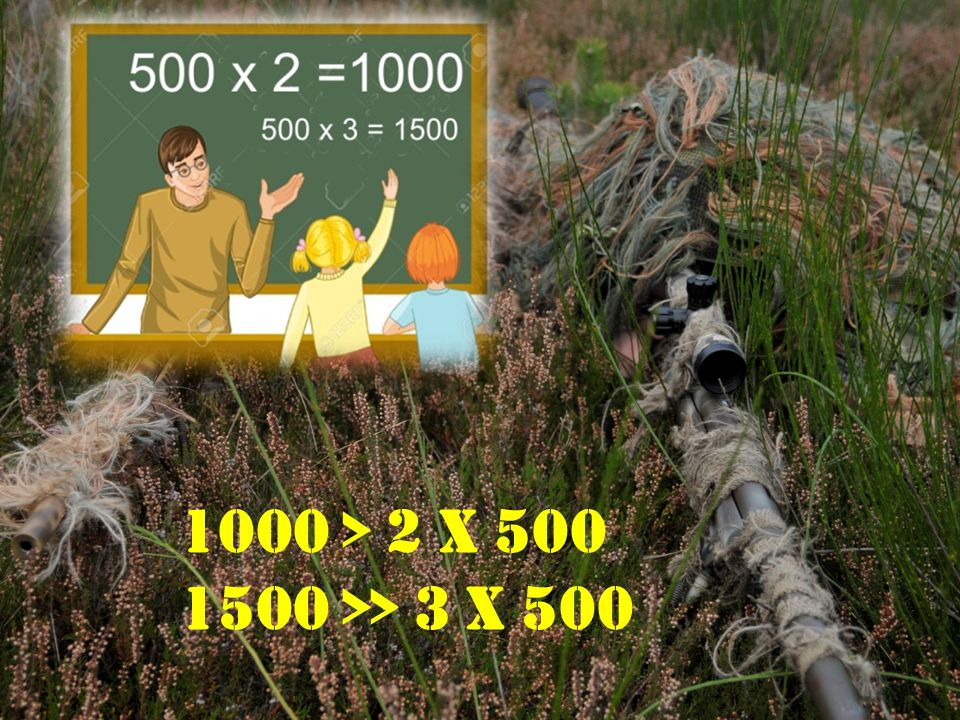 1000 > 2 x 500 1500 >> 3 x 500