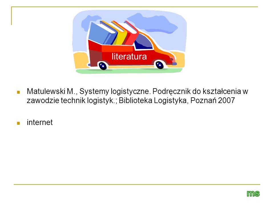literatura Matulewski M., Systemy logistyczne. Podręcznik do kształcenia w zawodzie technik logistyk.; Biblioteka Logistyka, Poznań 2007.