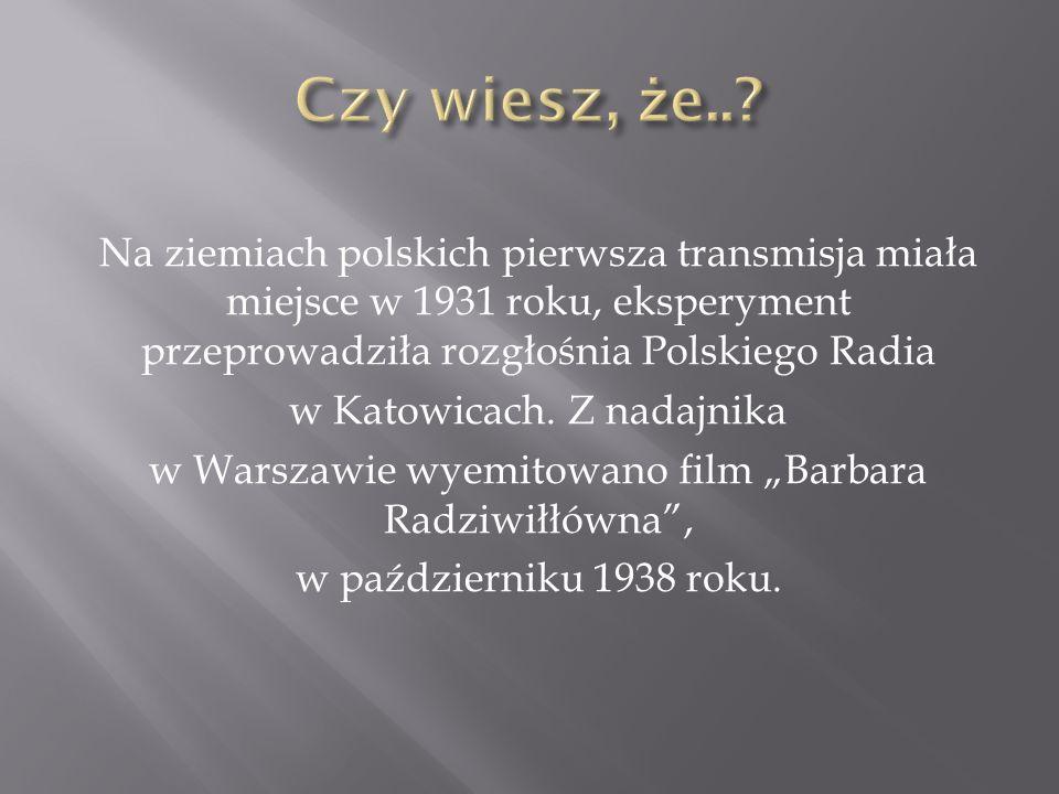Czy wiesz, że.. Na ziemiach polskich pierwsza transmisja miała miejsce w 1931 roku, eksperyment przeprowadziła rozgłośnia Polskiego Radia.