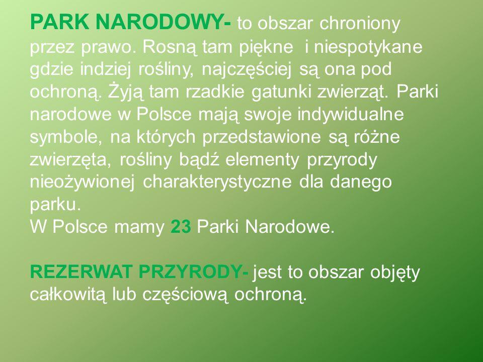 PARK NARODOWY- to obszar chroniony przez prawo