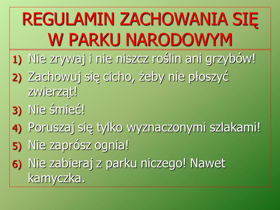 REGULAMIN ZACHOWANIA SIĘ W PARKU NARODOWYM