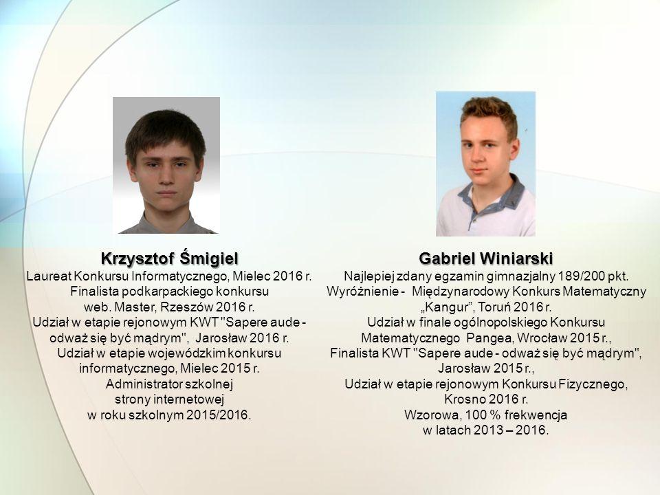 Krzysztof Śmigiel Gabriel Winiarski