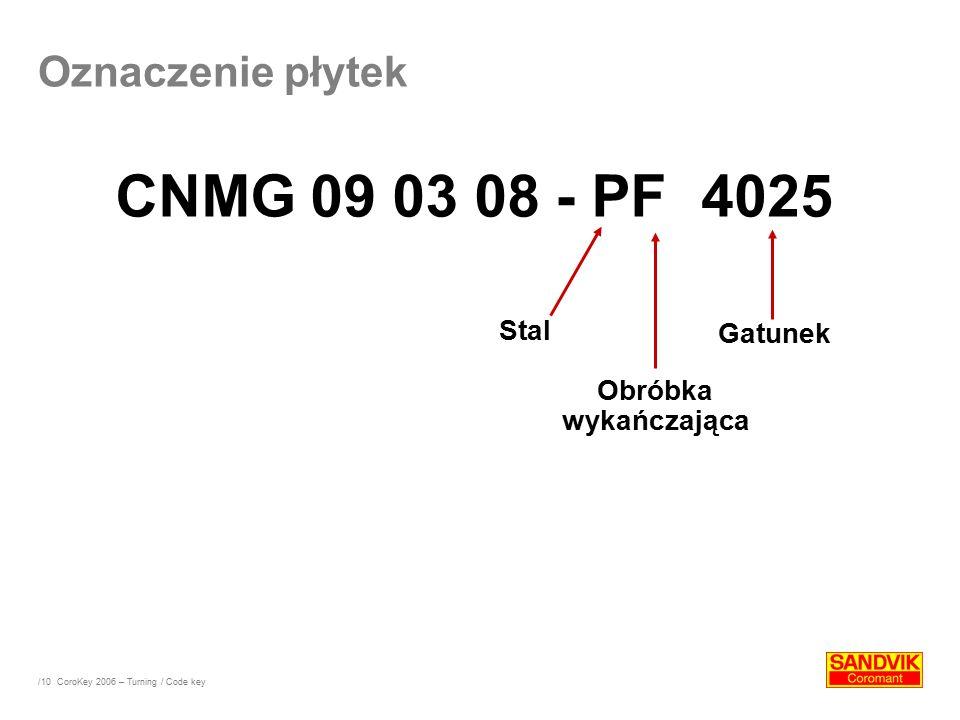 CNMG 09 03 08 - PF 4025 Oznaczenie płytek Stal Gatunek