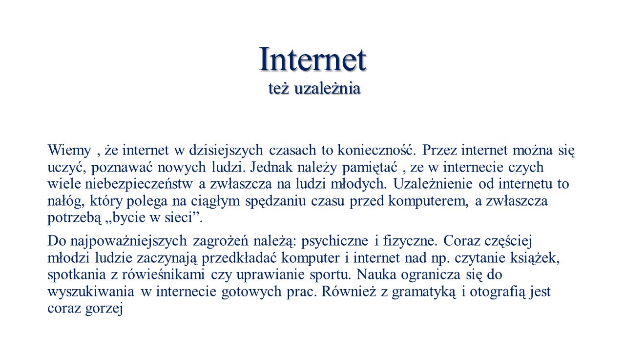 Internet też uzależnia
