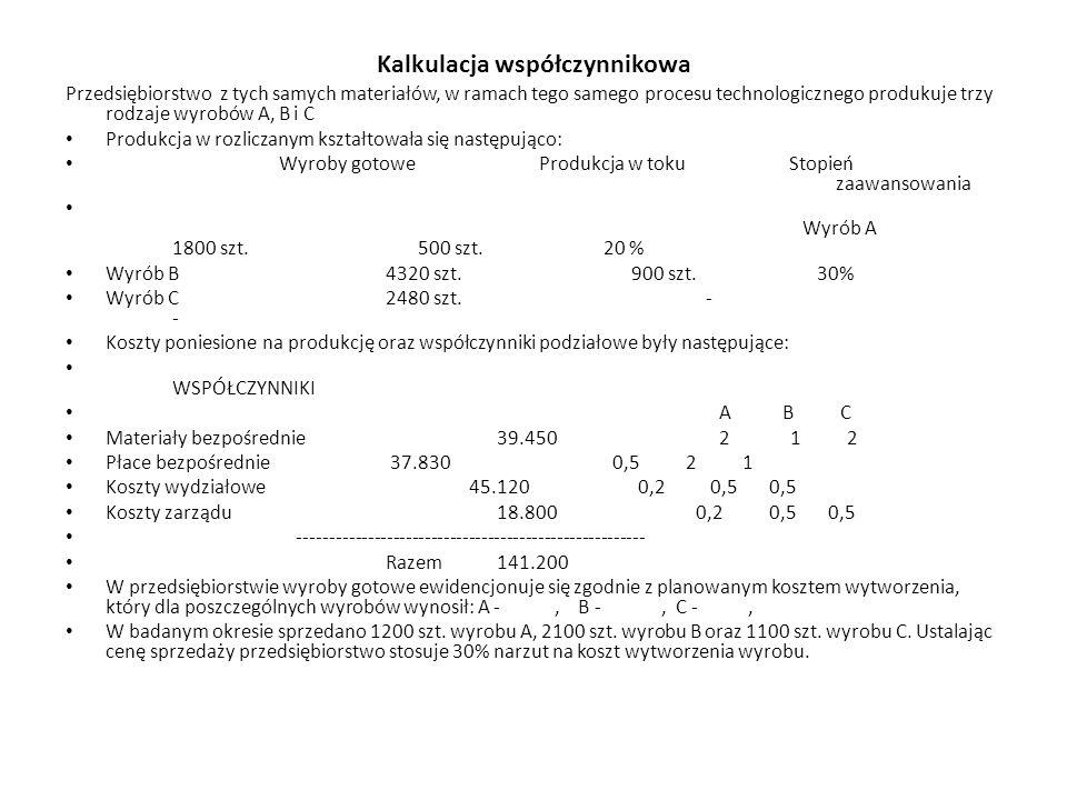 Kalkulacja współczynnikowa