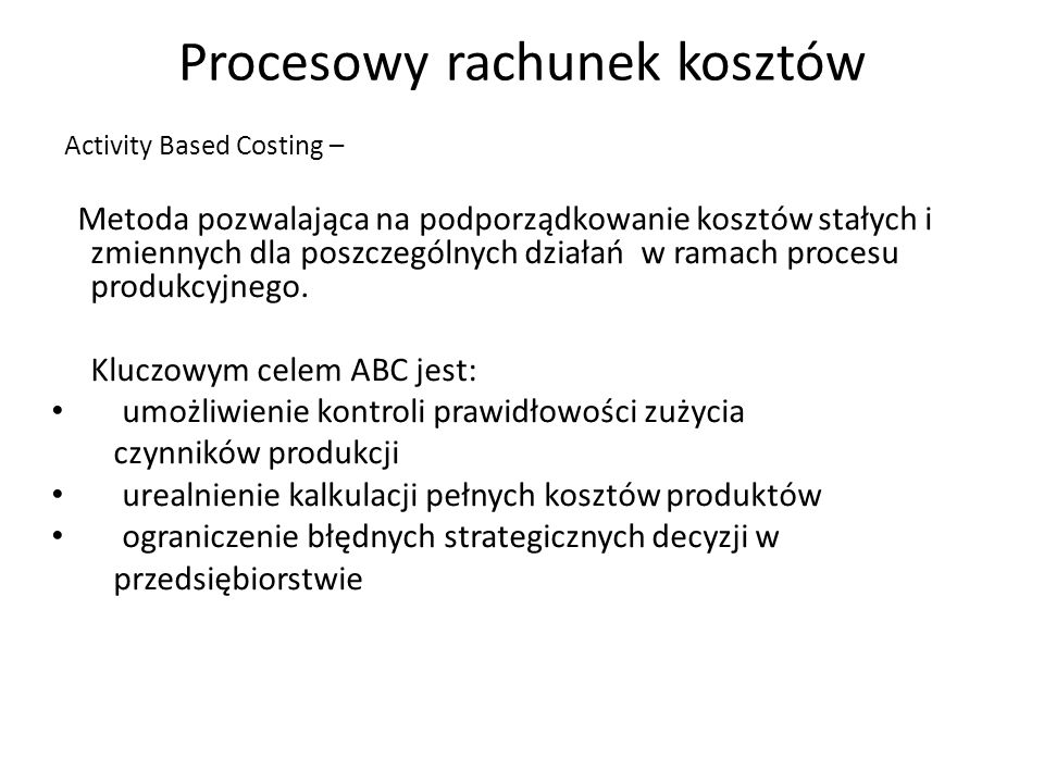 Procesowy rachunek kosztów
