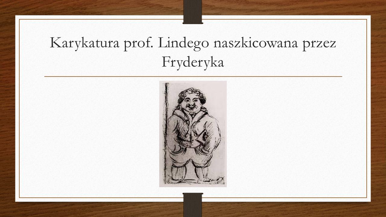 Karykatura prof. Lindego naszkicowana przez Fryderyka