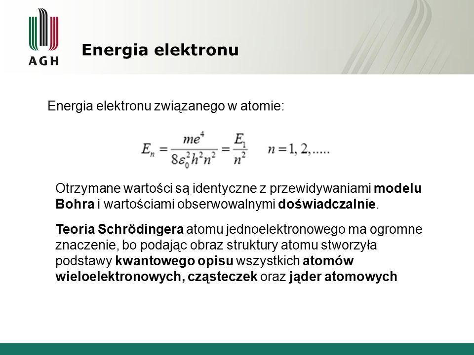 Energia elektronu Energia elektronu związanego w atomie: